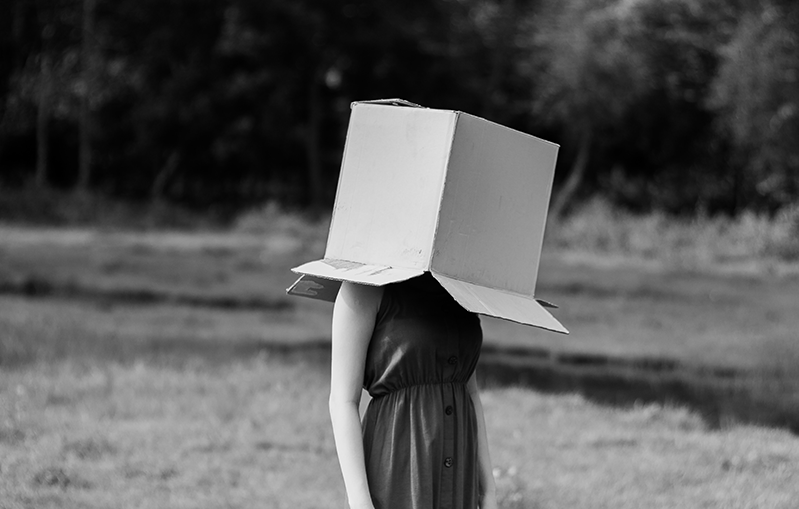woman with box on her head
